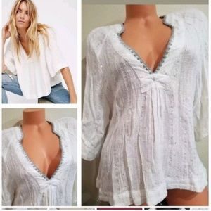 Free People White Sequin Crochet Flowy Top